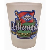 "Arkansas Shot Glass 2.25H X 2"" W Frosted Map/Flag"