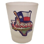 Texas Shotglass Frosted Map/ Flag