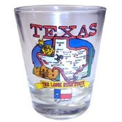 Texas Shotglass State Map
