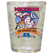 "Michigan Shot Glass 2.25H X 2"" W State Map"