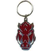 University of Arkansas - Keychain Metal Hog Head Clear Filled