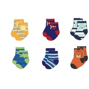 Infant Assorted Print Ankle Socks 6-Pack - Size 0-12 Months