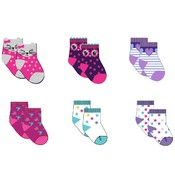 Infant Girls Assorted Print Ankle Socks 6-Pack - Size 0-12M