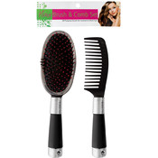 Hair Brush & Comb set - Black, Red, Silver