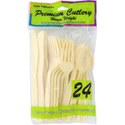 Cream Plastic Cutlery Set