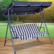 Canopied Blue Striped Swing Chair
