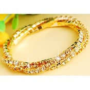 Swarovski Crystal Triple Twisted Bracelet - Gold