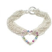 Multi Strand Multi Color Austrain Crystal Heart Bracelet