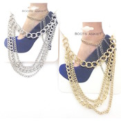 Boot Anklet Chain - Silver