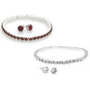 Ruby Stretch Bracelet and Matching Earrings