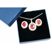 Fire Opal CZ Necklace and Earring Set