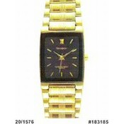 Armitron Mens Dress Watch with Black Rectangle Dial and Goldtone Band