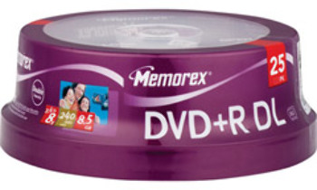 8X Double Layer Write-Once dvd+R - 25 Disc Spindle