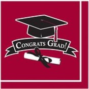 Graduation 36ct Beverage Napkin - Burgundy