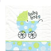 Baby Carriage Boy Luncheon Napkin