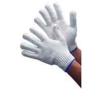 Bleached White String Knit Gloves Small