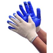 String Knit Glove w/ Blue Latex Coating Large