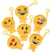 "4"" Emoji plush coin purse with zipper and clip on"