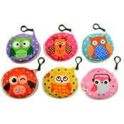 "4"" Owl Round Owl Coin Purse Clip On"