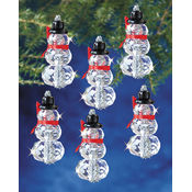Holiday Beaded Ornament Kit-Faceted Snowmen