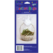 "Clear Cellophane Basket Bags - 24"" x 25"""