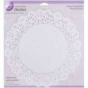 """Greasproof Doilies White Circle 12"""" - 6 Ct"""
