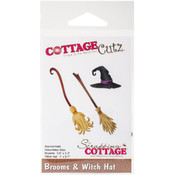 "CottageCutz Die-Brooms & Witch Hat, .6"" To 2.3"""