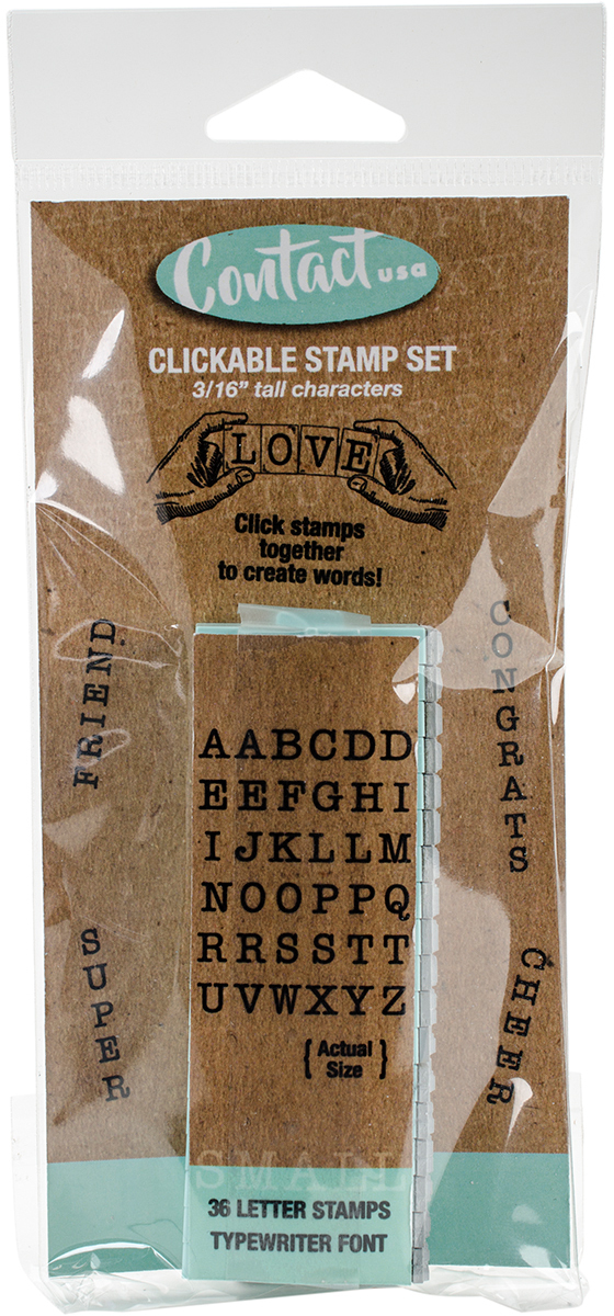 Contact USA Clickable Typewriter Font Stamps 3/16