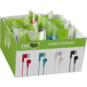 Hottips Tray Pack Stereo Ear Bud Assorted Tube- 8-count