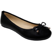 Women's Black Slip On Ballerina Flats with Bow Sizes 6-10