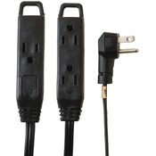 Axis 3-Outlet Indoor Extension Cord, 8Ft (Black)