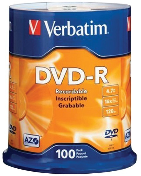 100 Ct 4.7 Gb Dvd-Rs