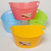 Plastic Oval Basket with Double Handle in 4 Colors