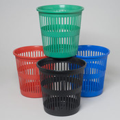 Waste Basket Round Slotted Plastic