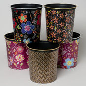 Waste Basket With Floral Design & Silver Or Gold Trip