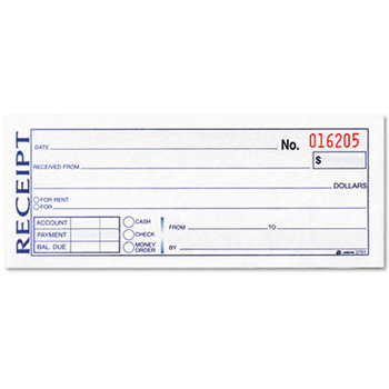 Wholesale Money/Rent Receipt Book 3-Part Carbonless 2-3/4 (SKU ...