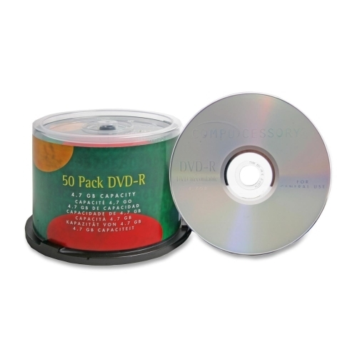 Compucessory DVD-R, 4.7GB, 16X, Branded, 50/PK