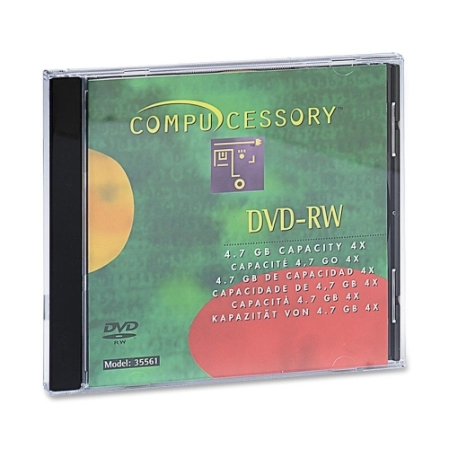 Compucessory DVD-RW, 4.7GB, 4x Recording Speed, 10/PK, W/Branded Surface