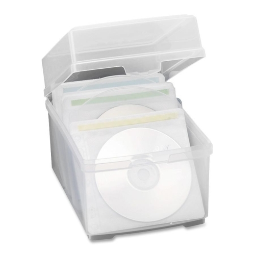 "Compucessory CD Storage Box,w/50 Sleeves, 5-3/4""x7-1/2""x5-1/2"", Clear"