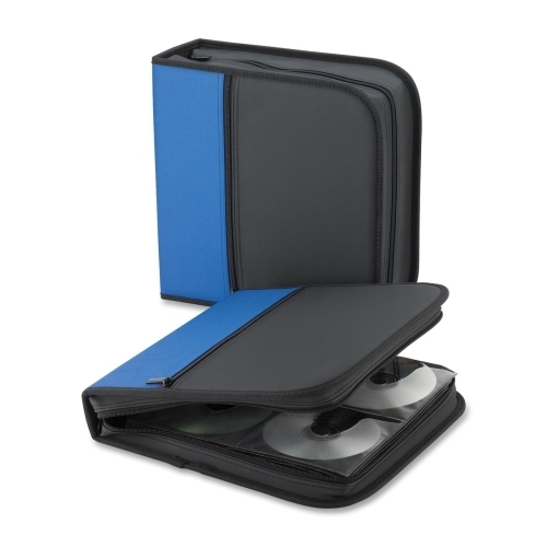"Compucessory CD/DVD Wallet, 11-1/7""x6""x1-1/2"", 64 Cap., Blue/Black"
