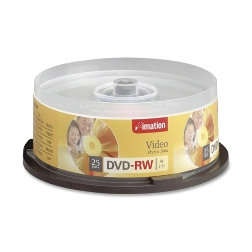 Imation DVD-RW, Rewritable, 4X, 4.7GB, 25/PK, Silver
