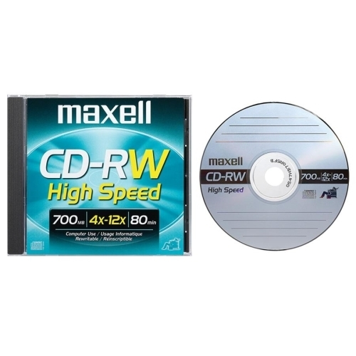 Maxell Corp. Of America CD-RW ,Rewritable, 4-12X Speed, 700MB/80MIN, Branded