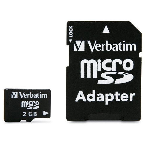 Verbatim Corporation Micro SD Card, w/ Adapter, 2 GB