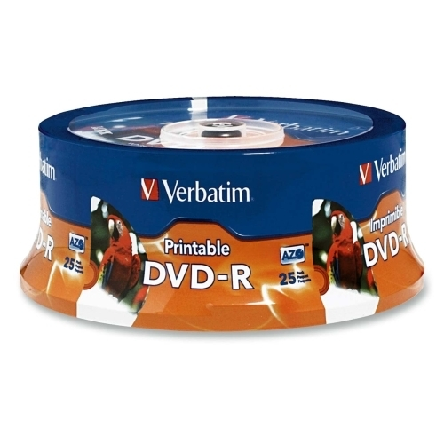 Verbatim Corporation DVD-R, 4.7GB, 16X, Inkjet/Hub Printable, Spindle, 25/PK, WE