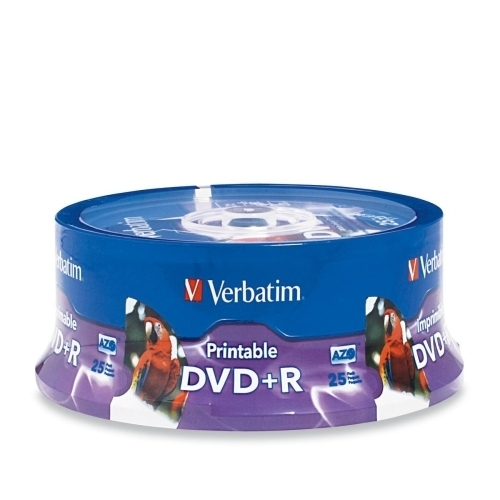 Verbatim Corporation DVD+R, 4.7GB, 16X, Inkjet/Hub Printable, 25/PK, White