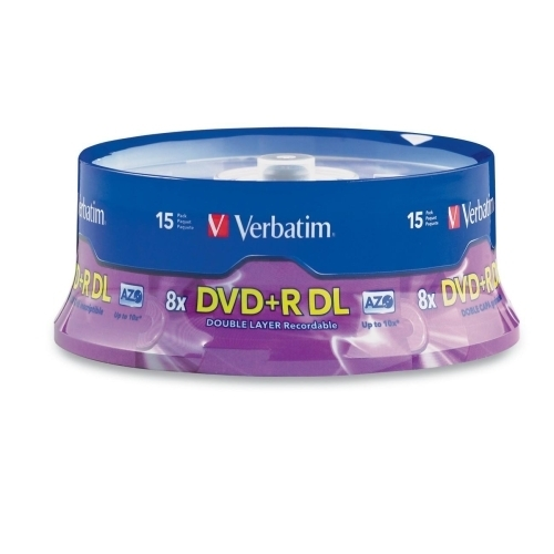 Verbatim Corporation DVD+R, Double Layer, 8X, 8.5GB, Branded, 15/PK