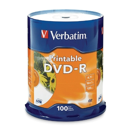 Verbatim Corporation DVD-R, 16x, 4.7GB, Inkjet Printable, 100/PK, White