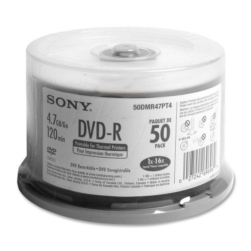 Sony Electronics DVD-R Disk, 16x, 4.7GB, Thermal Printable, 50/PK