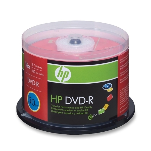 Hewlett-Packard DVD-R, Branded, 16x, 4.7GB, 50/PK, Silver