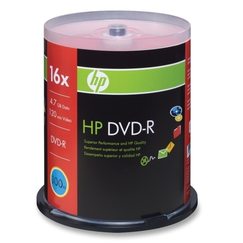 Hewlett-Packard DVD-R, Branded, 16x, 4.7GB, 100/PK, Silver